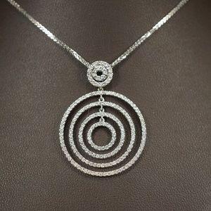 14KW Gold Multi Circle Diamond Pendant W/Chain